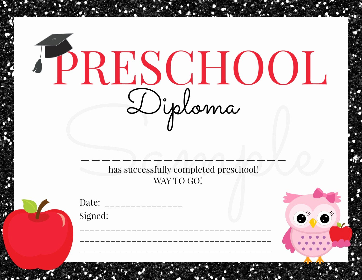 Preschool Diploma Template Free Fresh Instant Download Preschool Graduation Diploma for Girl