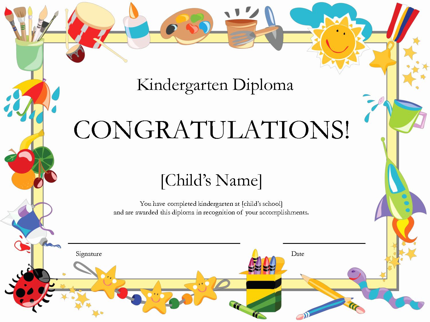 Preschool Diploma Template Free Unique Free Printable Kindergarten Graduation Certificate