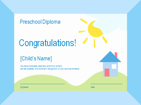 Preschool Diplomas Templates Free Beautiful Preschool Diploma Free Certificate Templates In Academic