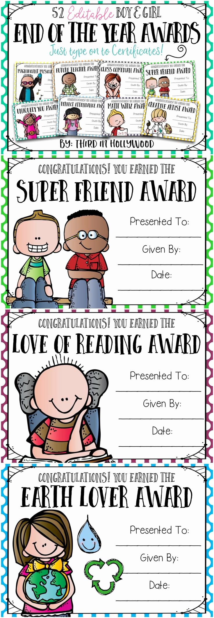 Preschool Graduation Awards Ideas Awesome End Of the Year Awards Editable