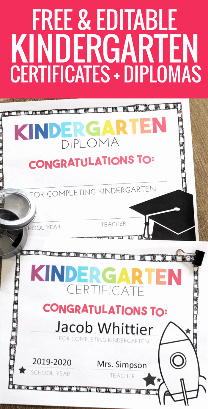 Preschool Graduation Certificate Editable Elegant Free End Of Year Certificates and Kindergarten Graduation