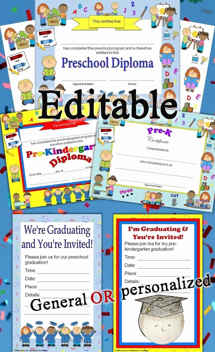 Preschool Graduation Certificate Editable Elegant Preschool Diplomas Certificates Graduation Invitations