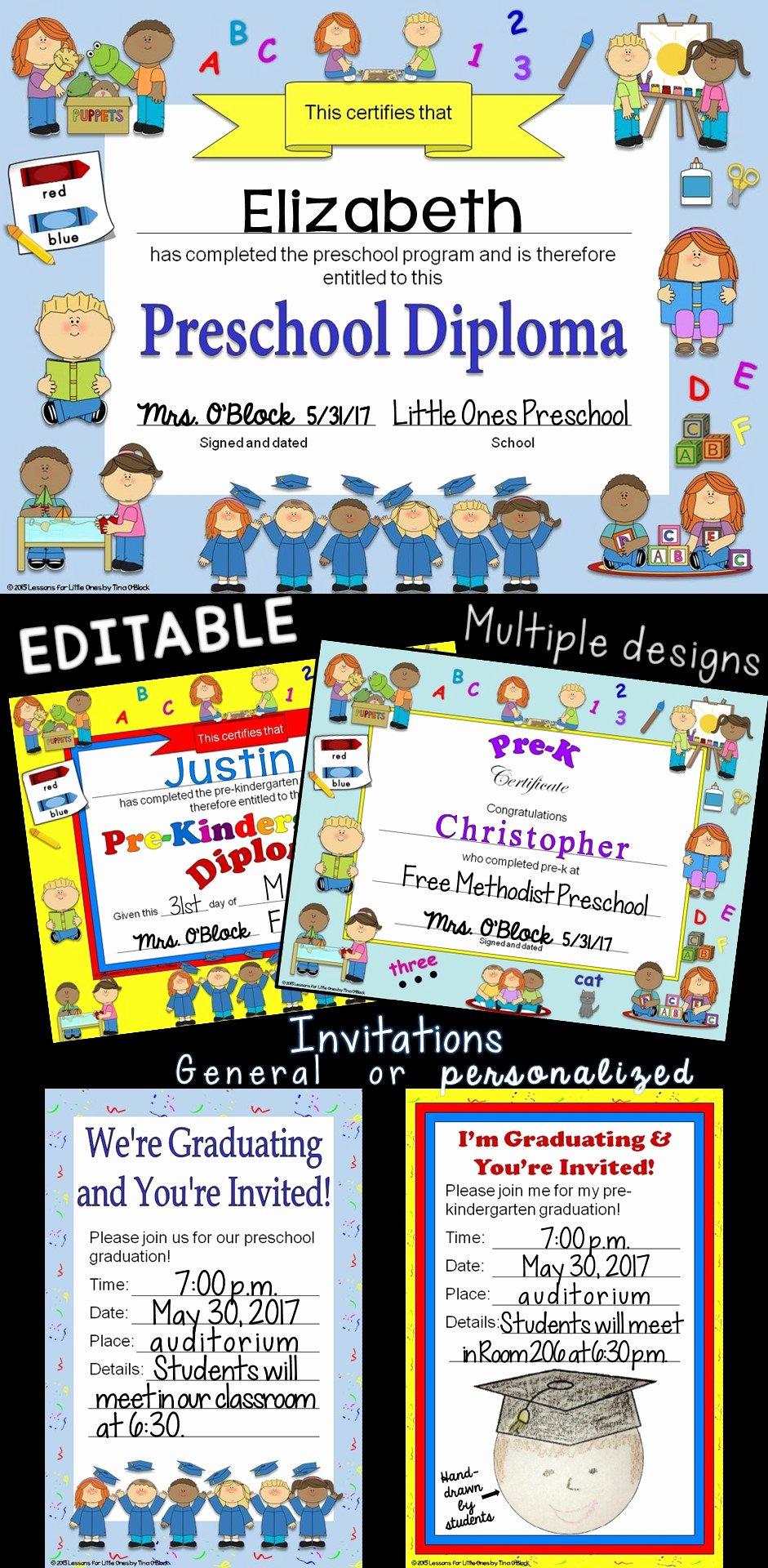 Preschool Graduation Certificate Editable Elegant Preschool Pre K Pre Kindergarten Diplomas Certificates
