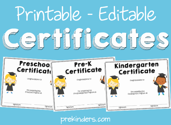Preschool Graduation Certificate Editable Elegant Printable Editable Certificates for Preschool Pre K
