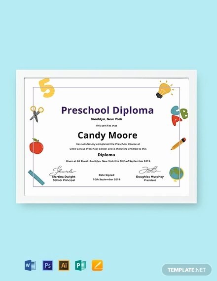 Preschool Graduation Certificate Editable Fresh Free Preschool Diploma Certificate Template Word
