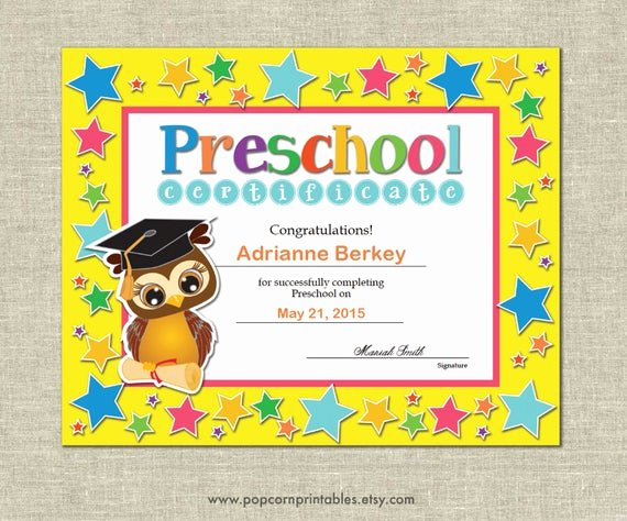 Preschool Graduation Certificate Editable Inspirational Preschool Graduation Diploma Certificate Instant Download