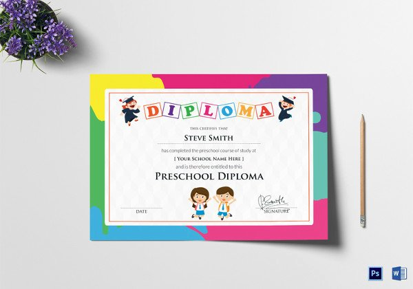 Preschool Graduation Certificate Editable Lovely 30 Best Diploma Certificate Psd Templates
