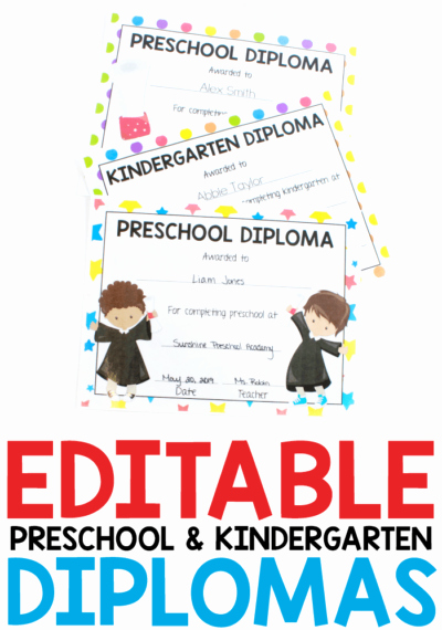 Preschool Graduation Certificate Editable Luxury Editable Diplomas for Preschool and Kindergarten
