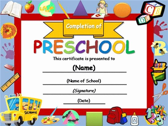 Preschool Graduation Certificate Editable New Free Certificate Templates