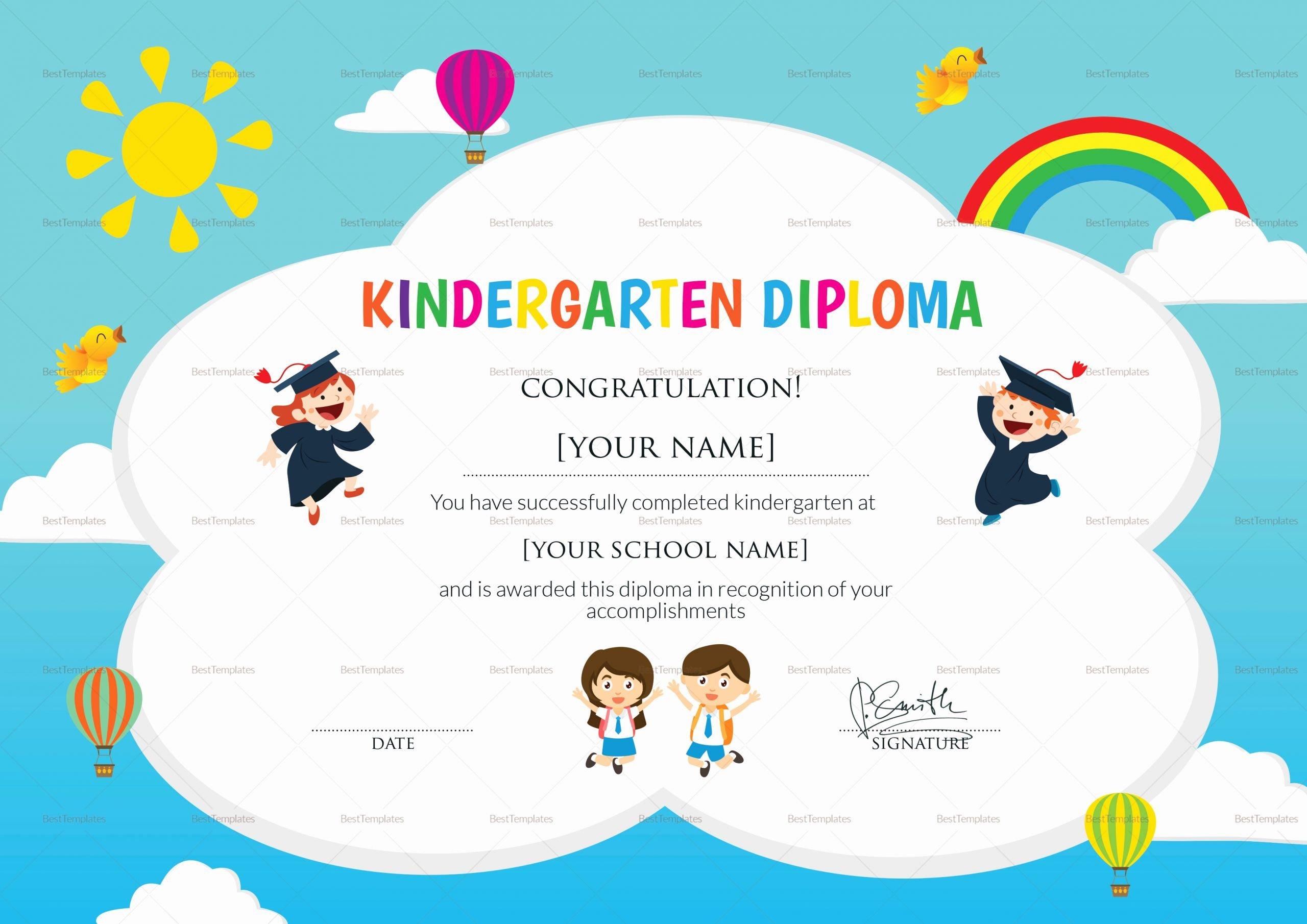 Preschool Graduation Certificate Template Inspirational Kindergarten Diploma Certificate Design Template In Psd Word