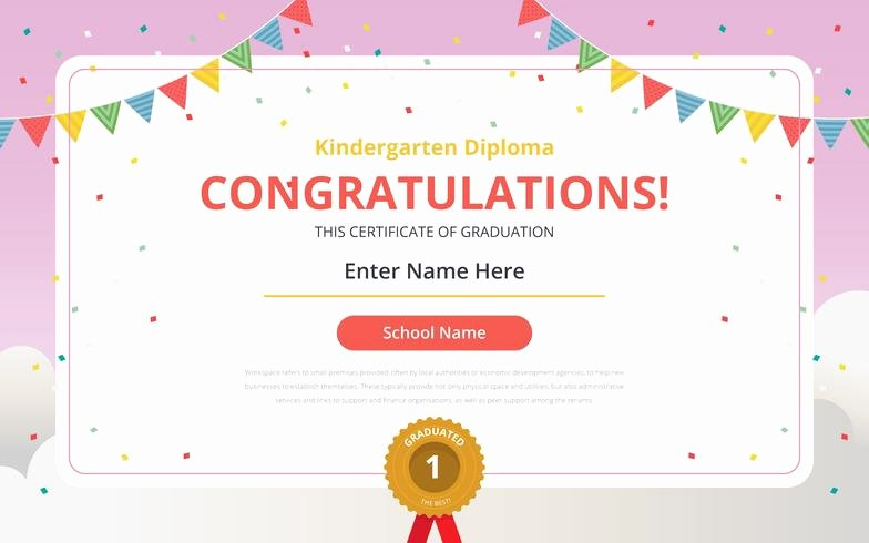 Preschool Graduation Certificate Templates Beautiful Kindergarten Diploma Certificate Template Download Free