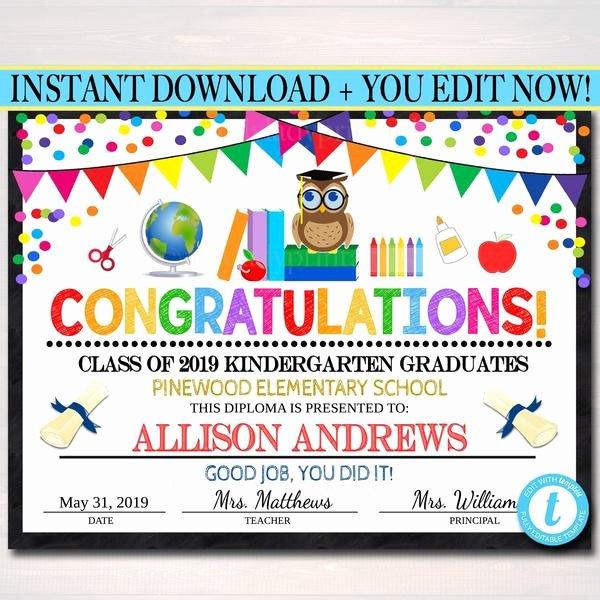 Preschool Graduation Certificate Templates Elegant Editable Graduation Certificate Any Grade Printable
