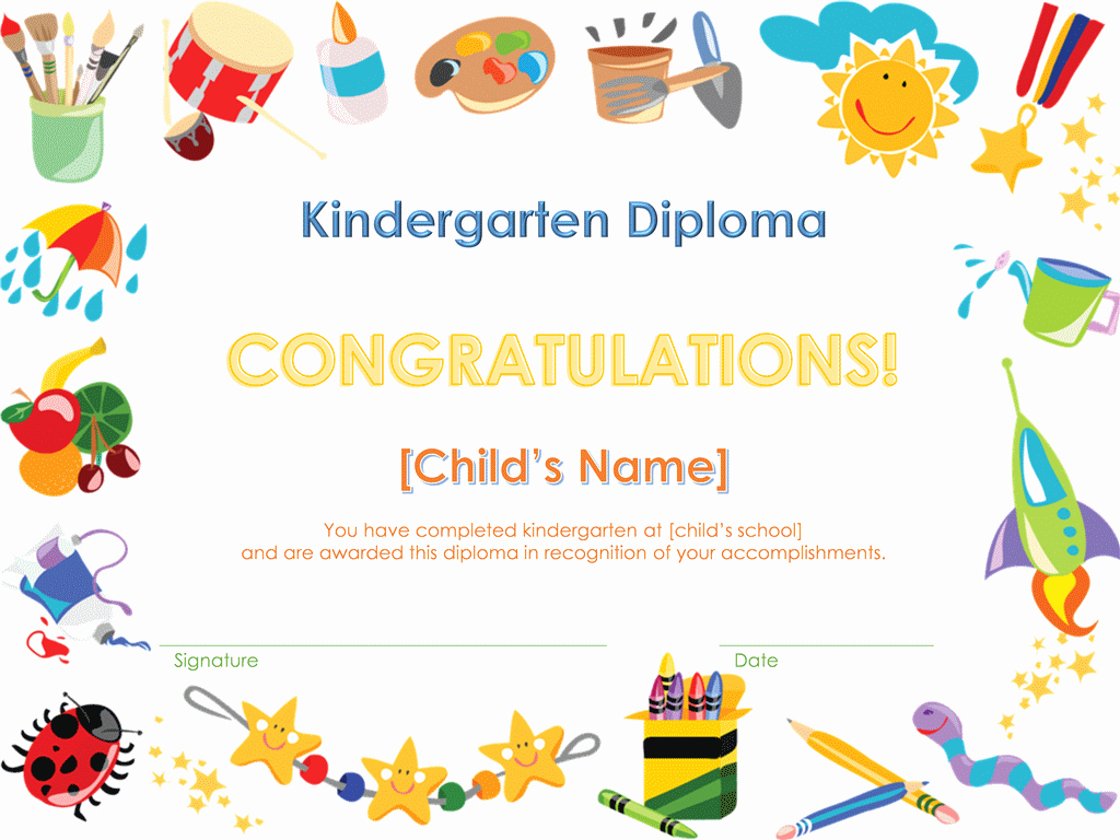 Preschool Graduation Certificate Templates Free Awesome Graduation Fice