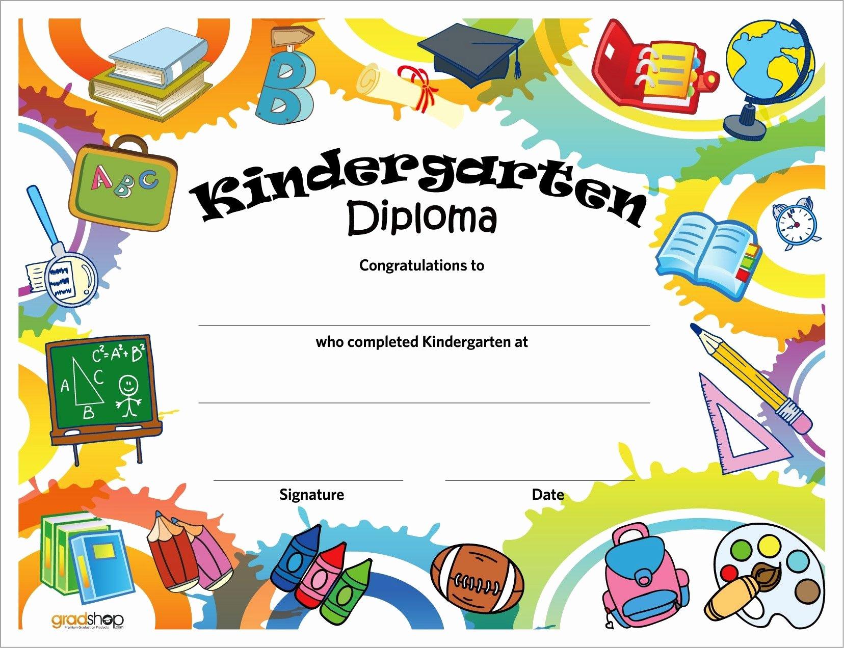 Preschool Graduation Certificate Templates Free Luxury Kindergarten Diploma Kindergarten Help
