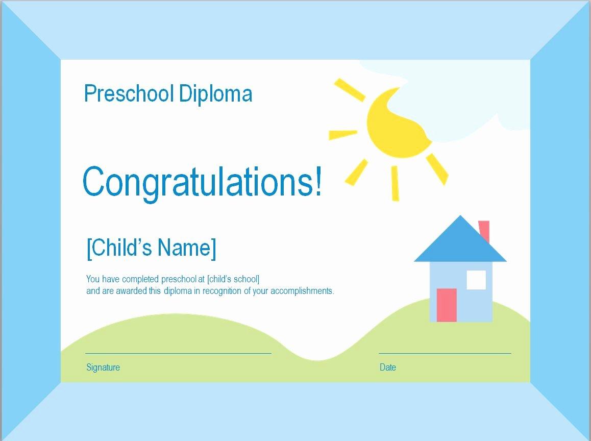 Preschool Graduation Certificate Templates Fresh Preschool Diploma Template