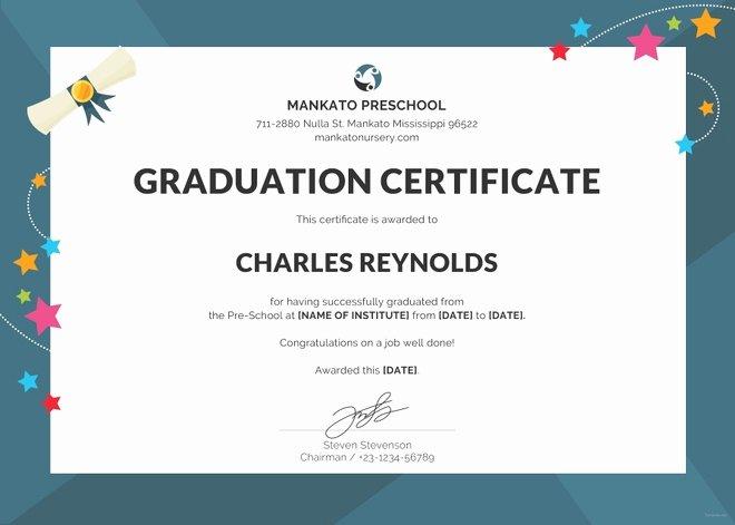 Preschool Graduation Certificate Templates Luxury School Certificate Template 23 Free Word Psd format