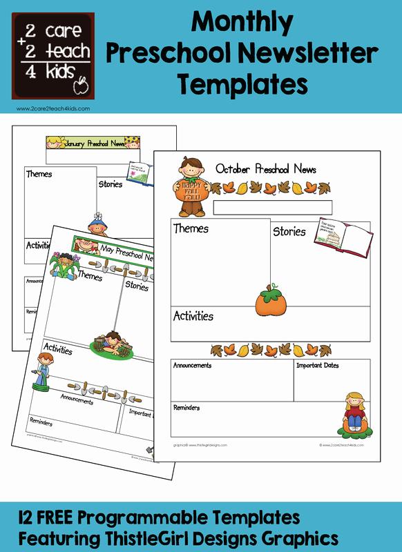 Preschool Newsletter Template Editable Beautiful Newsletters Free Printable Templates 2care2teach4kids
