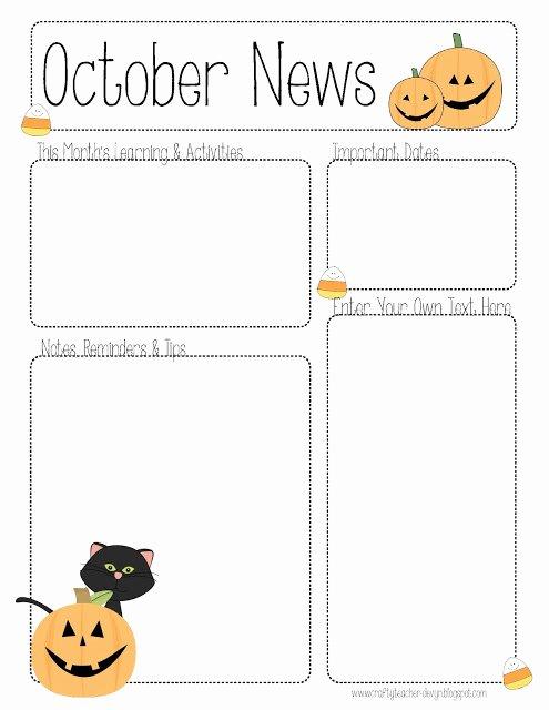 Preschool Newsletter Template Editable Elegant October Newsletter Template