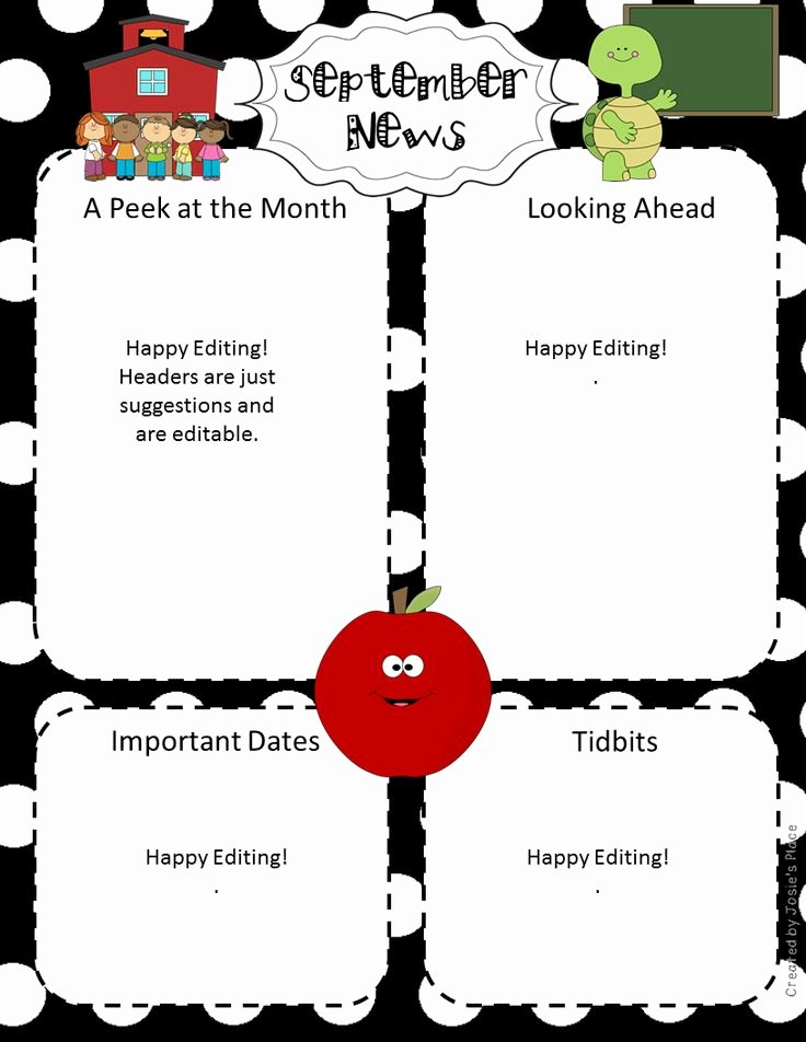 Preschool Newsletter Template Editable Fresh 4540 Best Images About First Grade Freebies On Pinterest