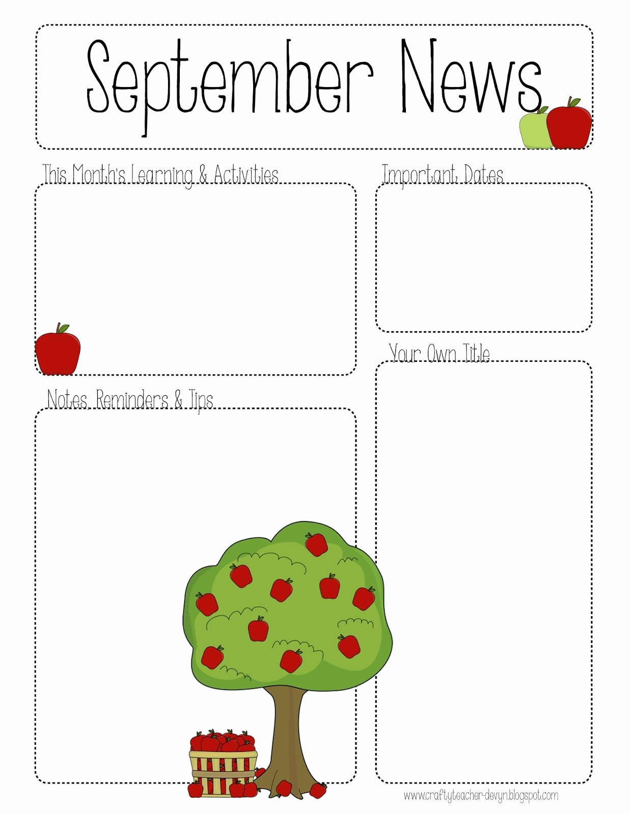 Preschool Newsletter Template Editable Fresh September Printable Newsletter All Grades