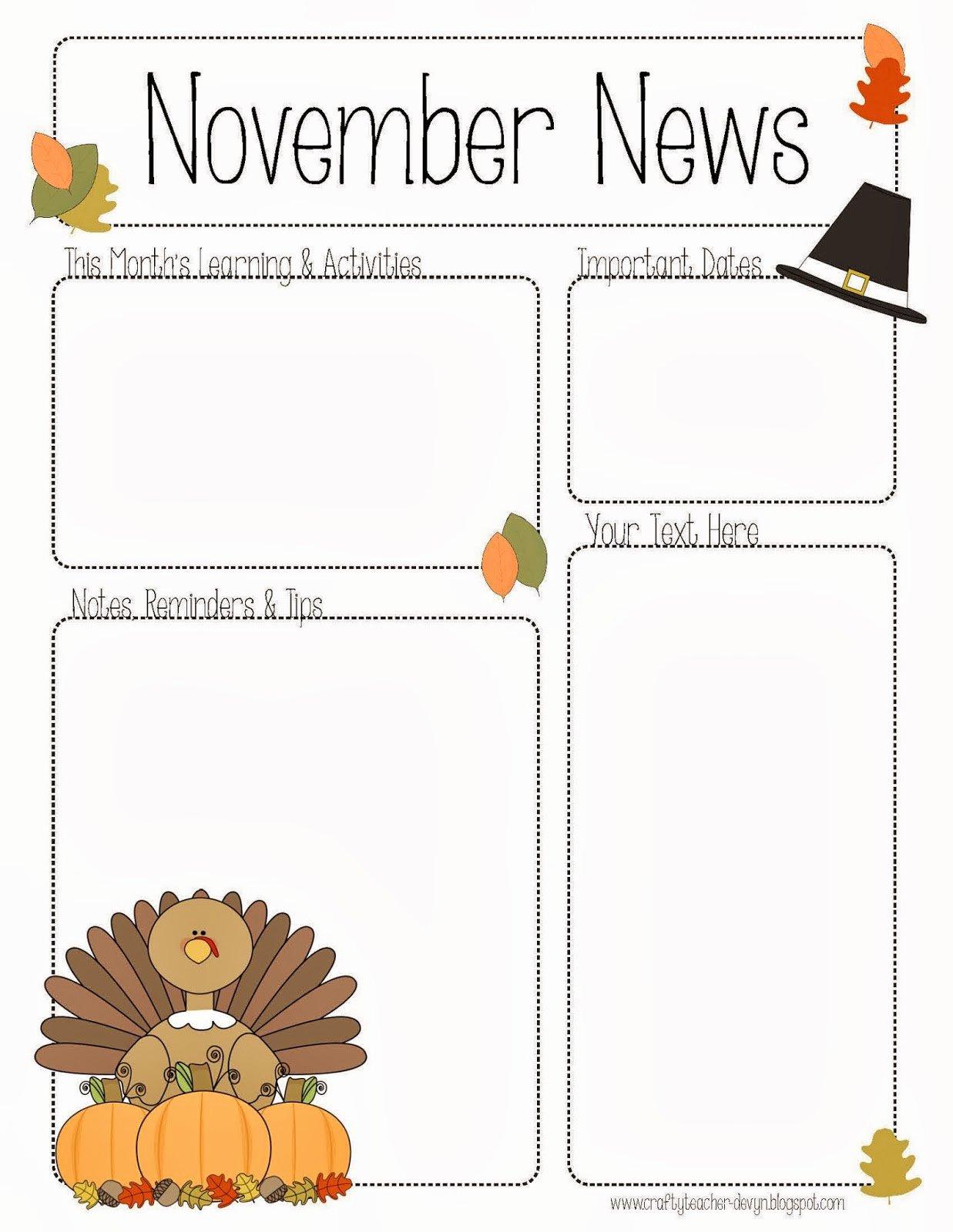 Preschool Newsletter Template Editable Inspirational November Newsletter for Preschool Pre K Kindergarten