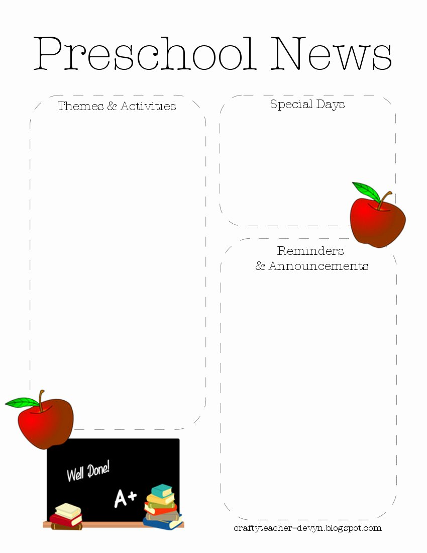 Preschool Newsletter Template Editable Luxury Preschool Newsletter Template 2
