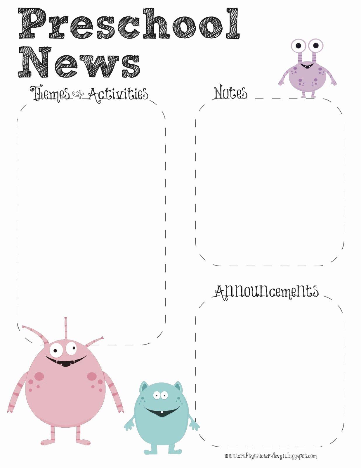 Preschool Newsletter Template Editable Unique Monster theme Preschool Newsletter Template