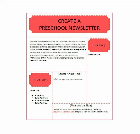 Preschool Newsletter Template Free Beautiful Editable Preschool Newsletter Template C Ile Web E