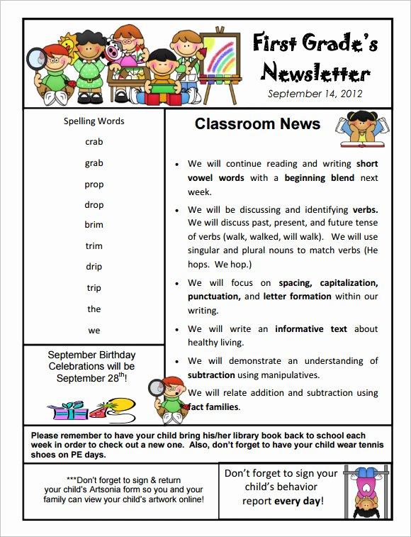 Preschool Newsletter Template Free Best Of 10 Sample Kindergarten Newsletter Templates In Sample