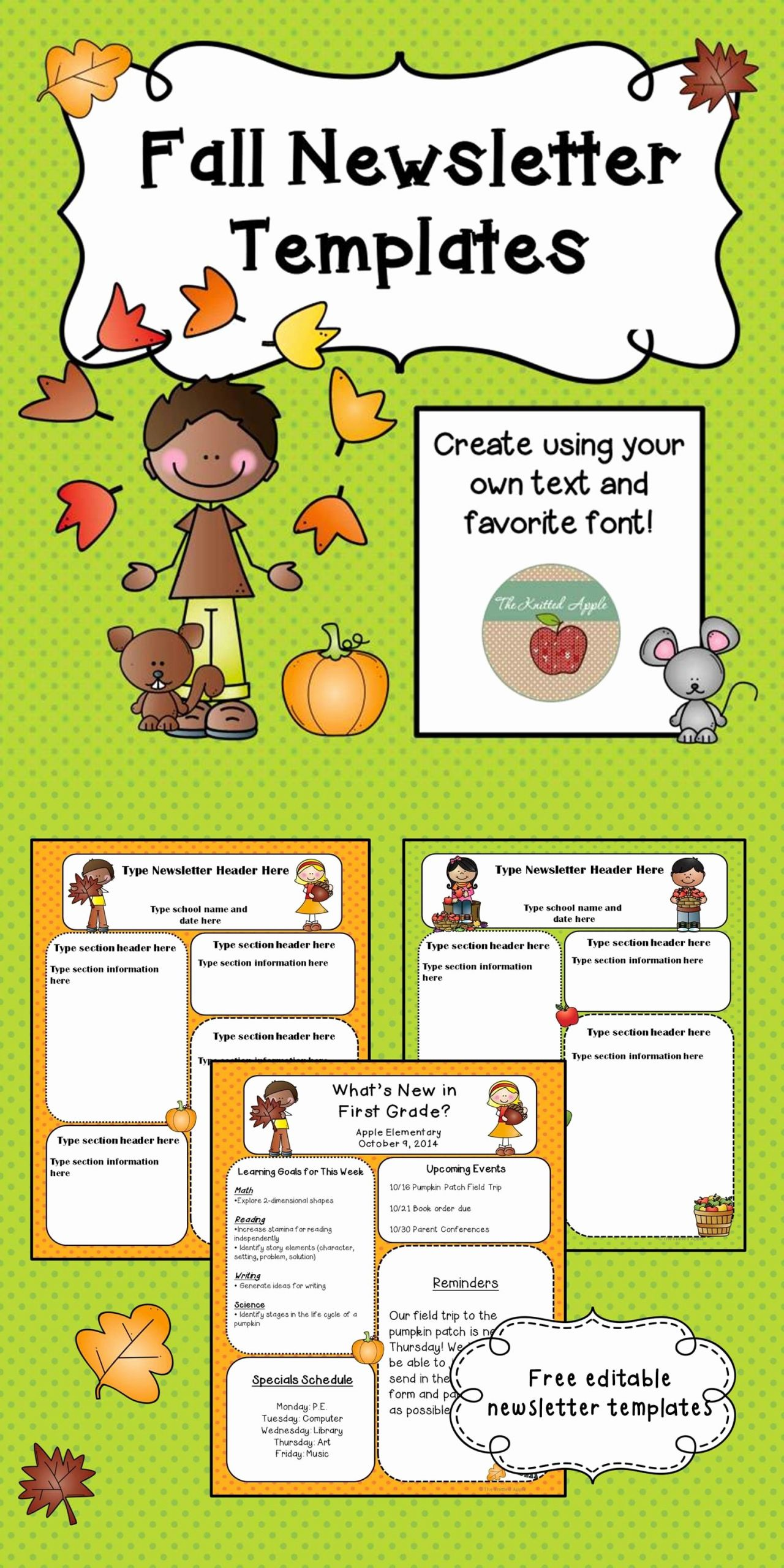 Preschool Newsletter Template Free Elegant Free Fall themed Newsletter Templates …