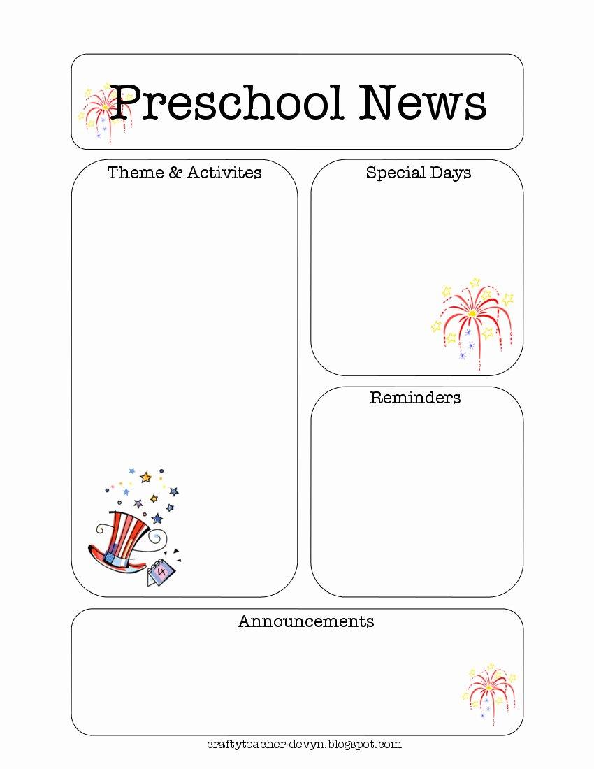 Preschool Newsletter Template Free Fresh July Preschool Newsletter Template