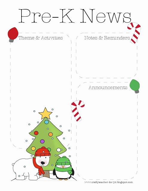 Preschool Newsletter Template Free Inspirational Christmas Pre K Newsletter Template