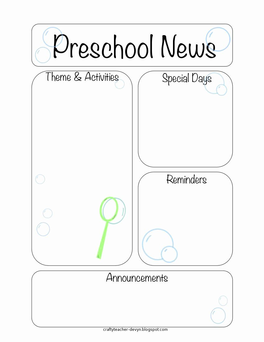 Preschool Newsletter Template Free Lovely Here are the Printable Newsletter Templates Leave A