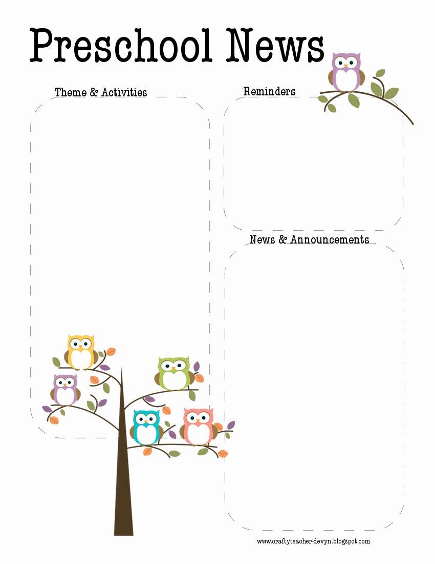 Preschool Newsletter Template Free Luxury Preschool Newsletters Samples