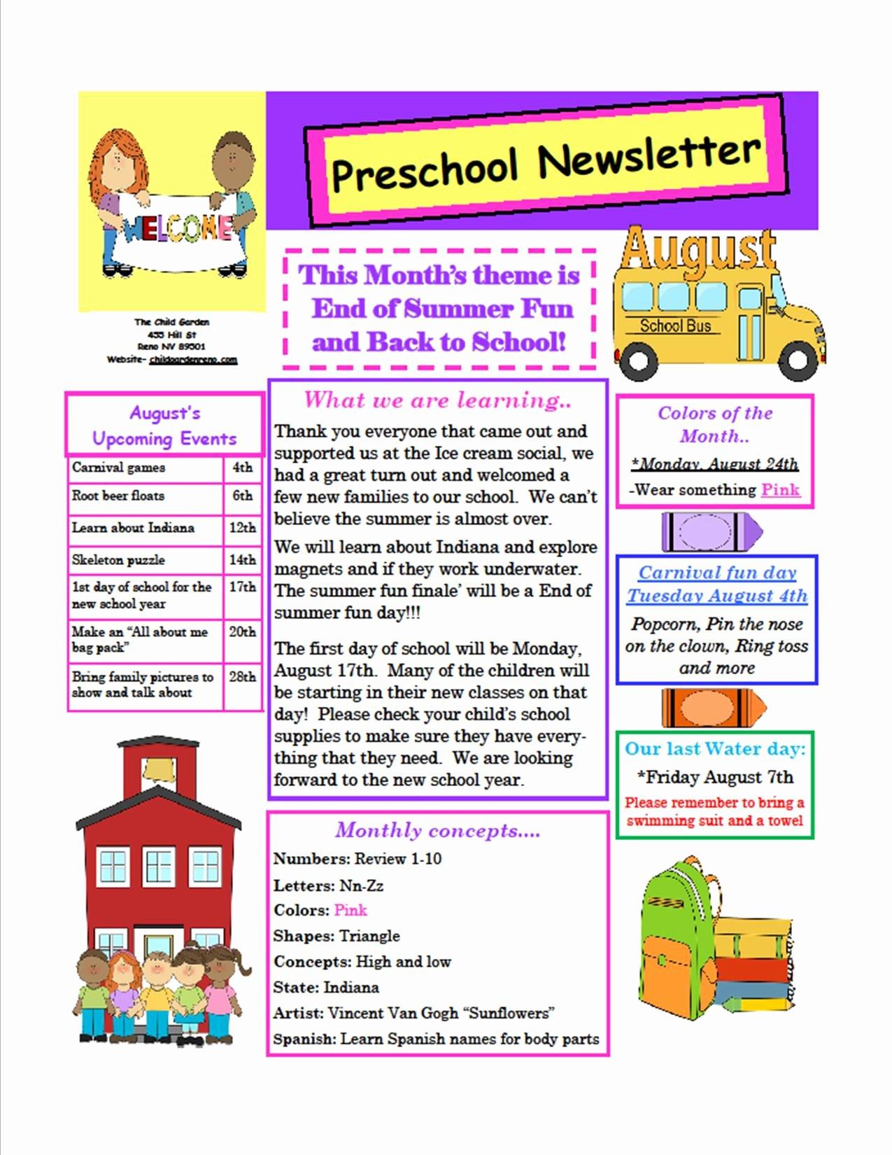Preschool Newsletter Template Free Unique the Child Garden Preschool