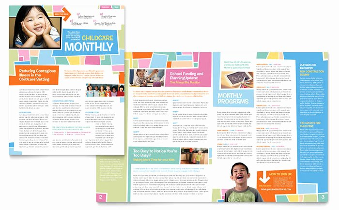 Preschool Newsletter Template Word Awesome Preschool Kids & Day Care Newsletter Template Design