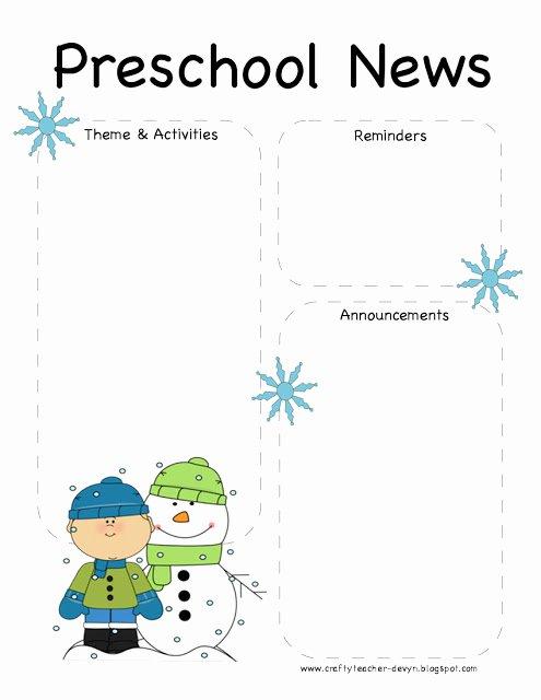Preschool Newsletter Template Word Inspirational Preschool Winter Newsletter Template
