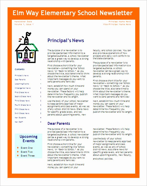 Preschool Newsletter Template Word Lovely Free 6 Editable Primary Classroom School Newsletter