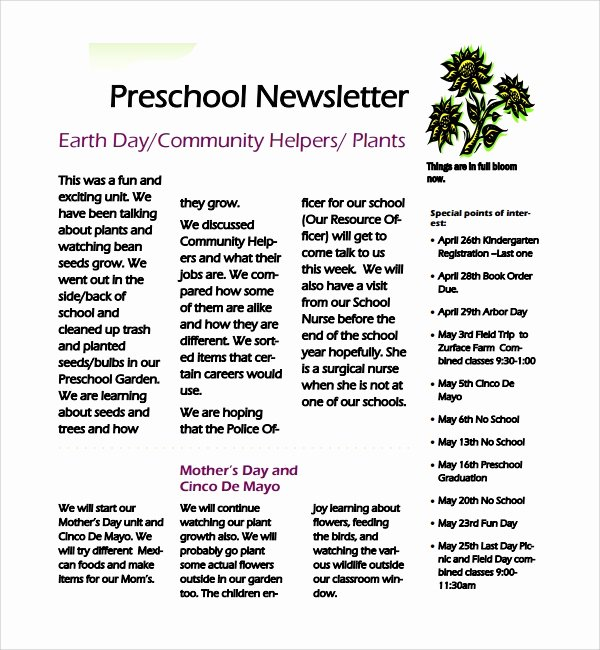 Preschool Newsletter Template Word New 8 Best Preschool Newsletter Templates In Word