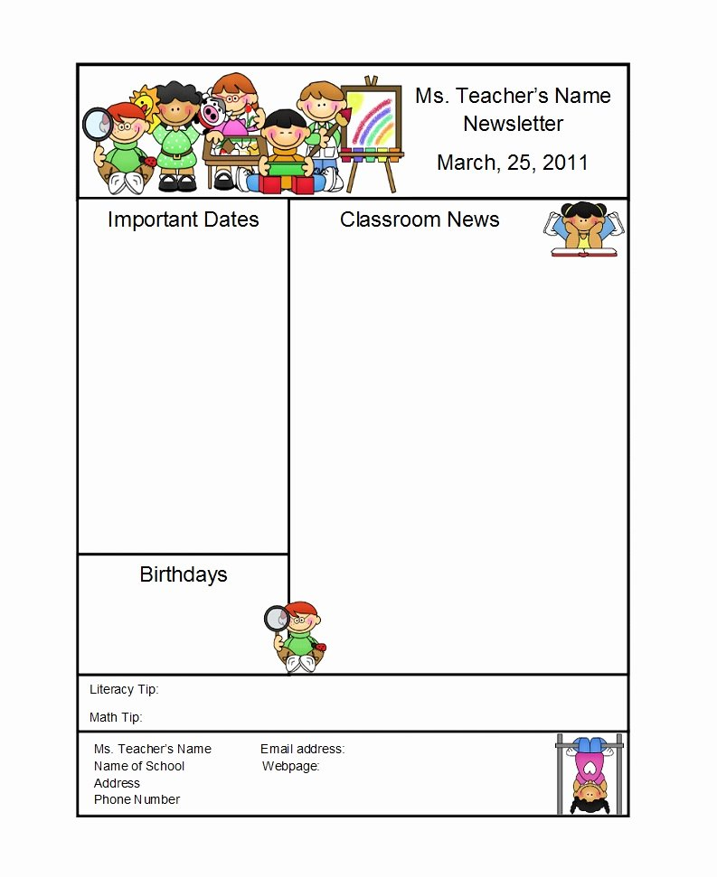 Preschool Newsletter Templates Free Awesome 50 Creative Preschool Newsletter Templates Tips