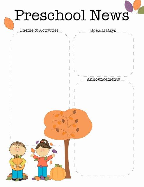 Preschool Newsletter Templates Free Best Of October Preschool Newsletter Template