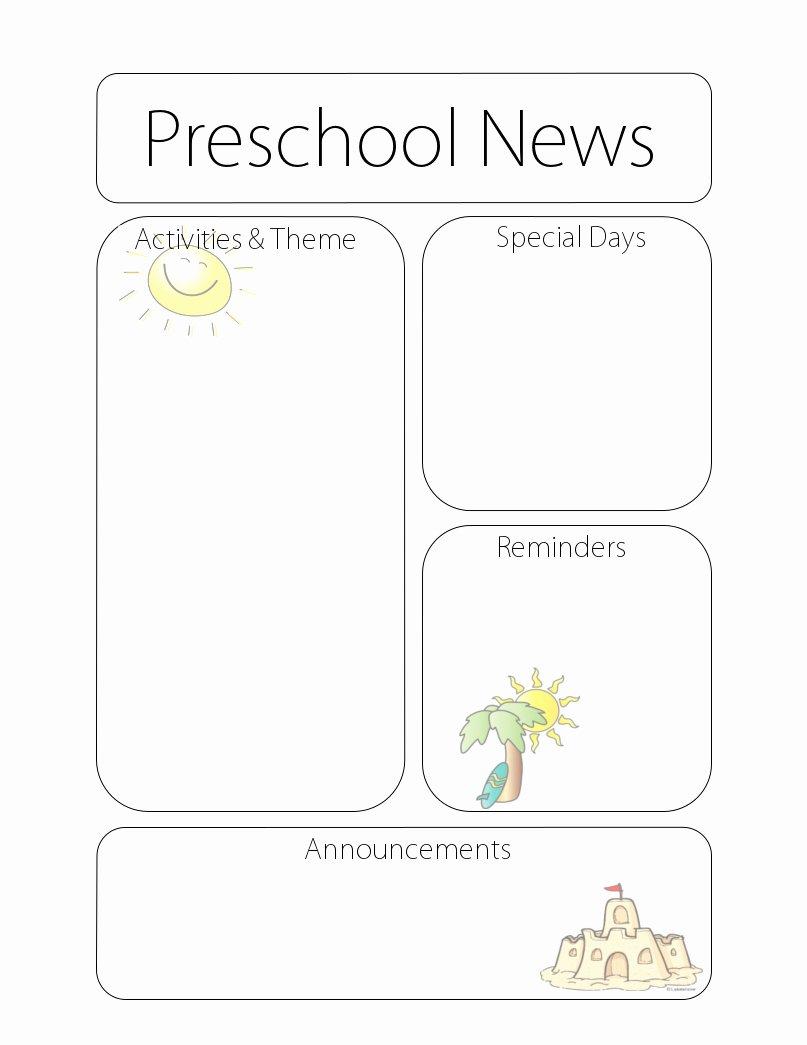 Preschool Newsletter Templates Free Lovely Newsletter Templates