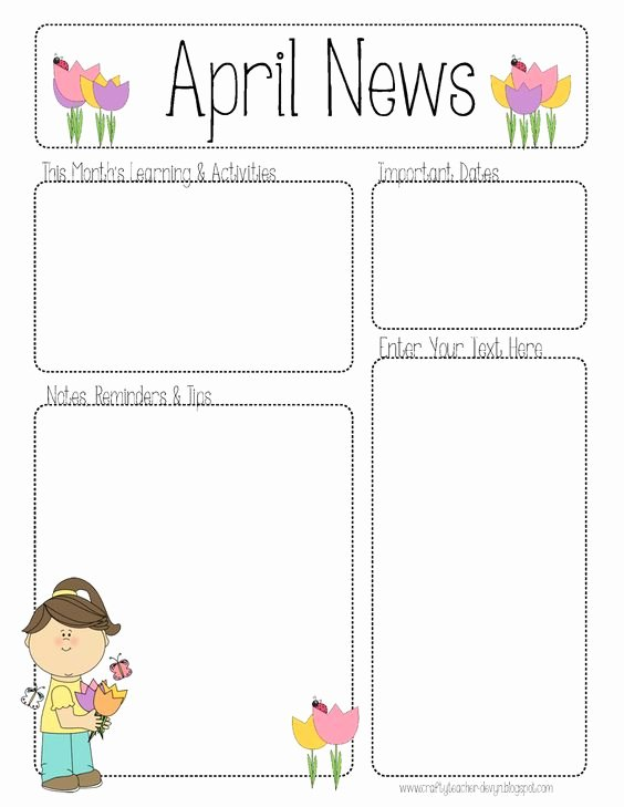 Preschool Weekly Newsletter Templates Inspirational April Newsletter for All Grades