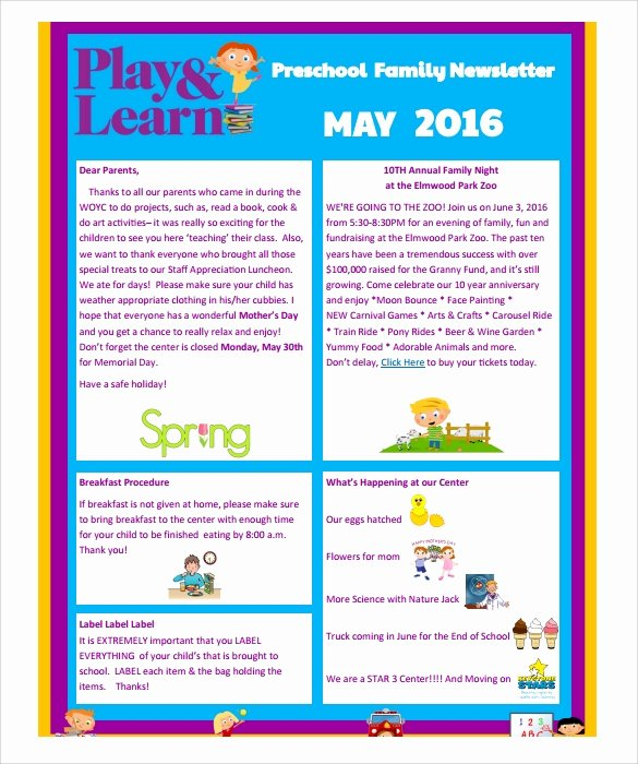 Preschool Weekly Newsletter Templates New Sample Preschool Newsletter 8 Free Download for Word Pdf