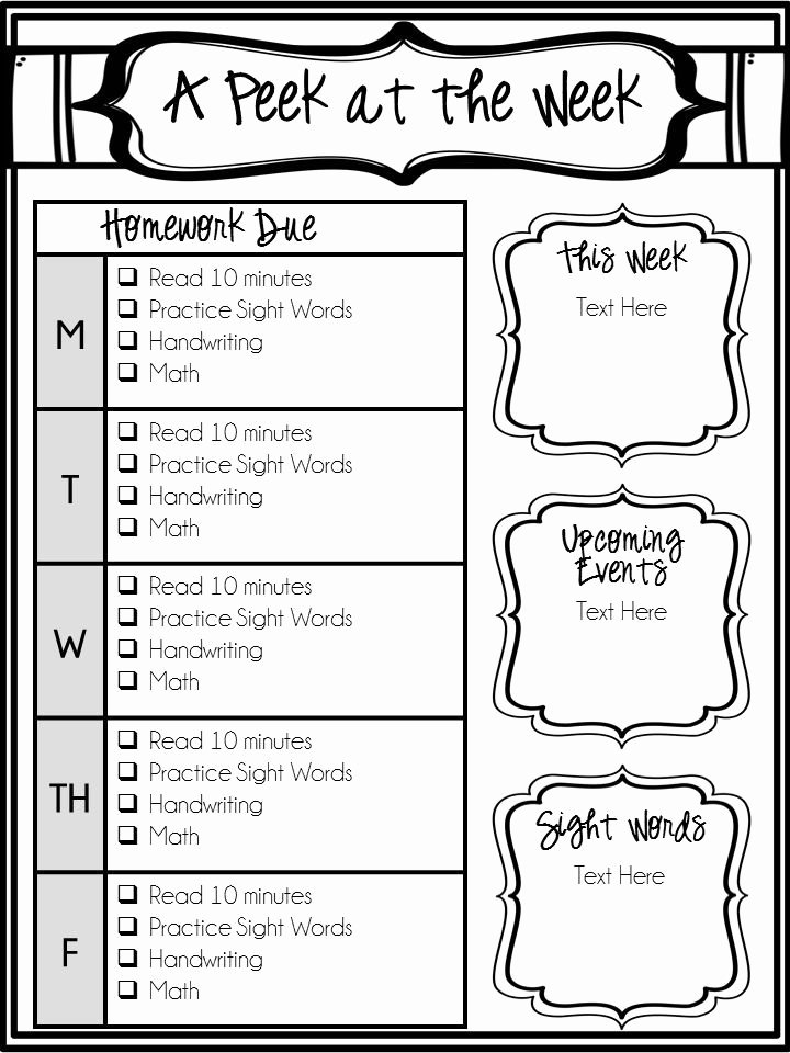 Preschool Weekly Newsletter Templates Unique Editable Weekly Newsletter and Homework Checklist