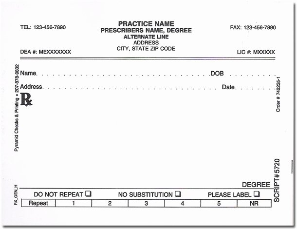 Prescription Pad Template Unique Rx White Prescription Pads