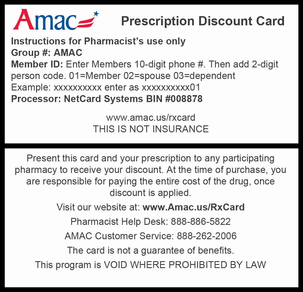 Print Free Fake Insurance Cards Fresh Rx Card Img Print Amac the association Of Mature