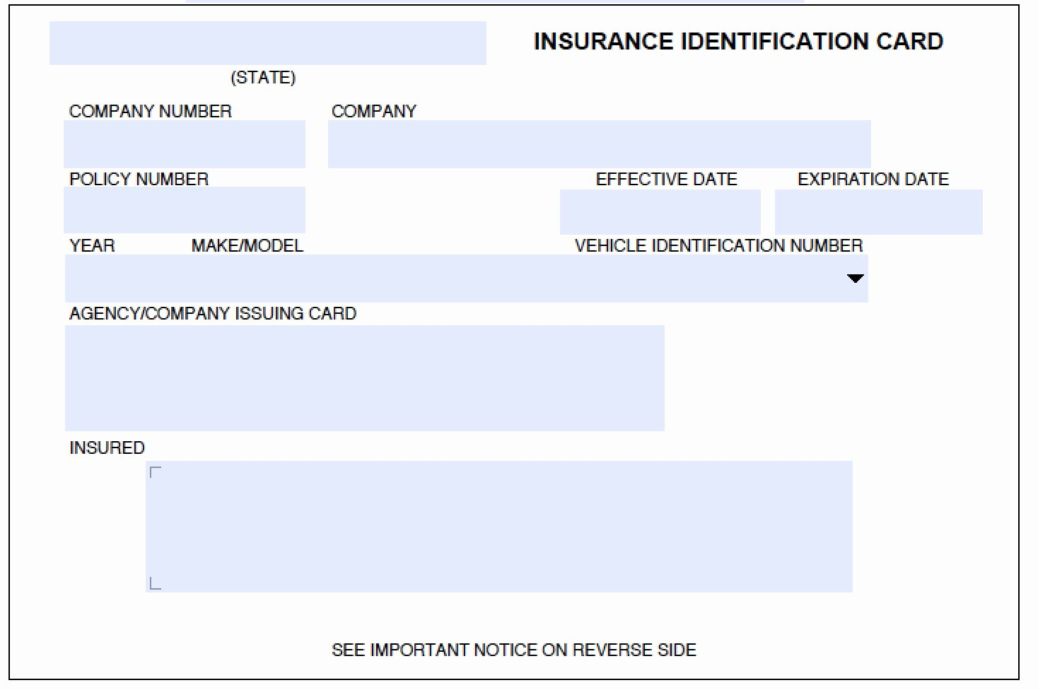 auto insurance card template