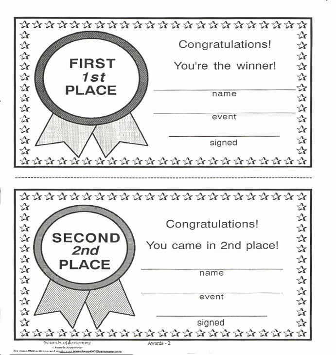 Printable 1st 2nd 3rd Place Ribbons Inspirational Awards