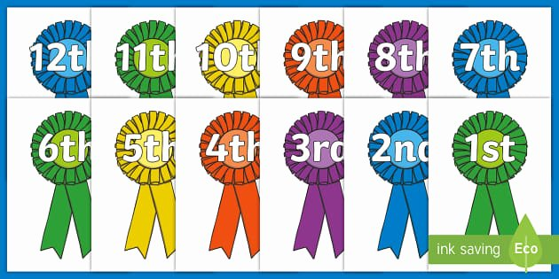 Printable 1st 2nd 3rd Place Ribbons Lovely Free ordinal Numbers to 20 Display Posters Counting